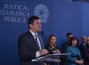 Sérgio Moro, Ministro da Justiça e Segurança Pública, durante evento do MJ - foto de Isaac Amorim/MJSP