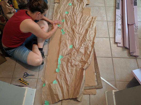 Van Conversion Floor Installation, template crafting