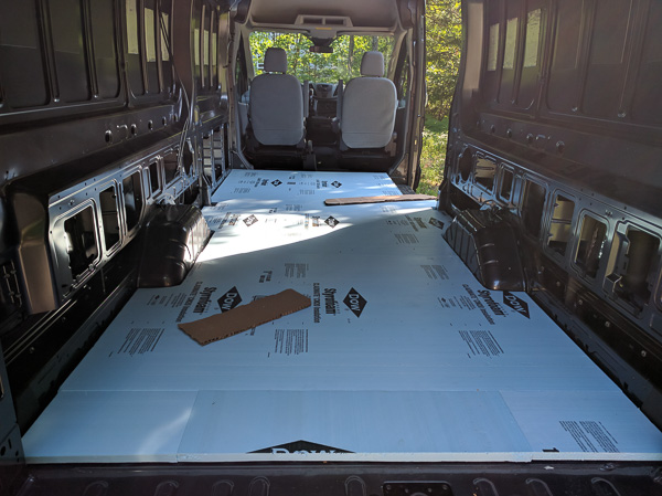 Van Conversion Floor Installation, foam final