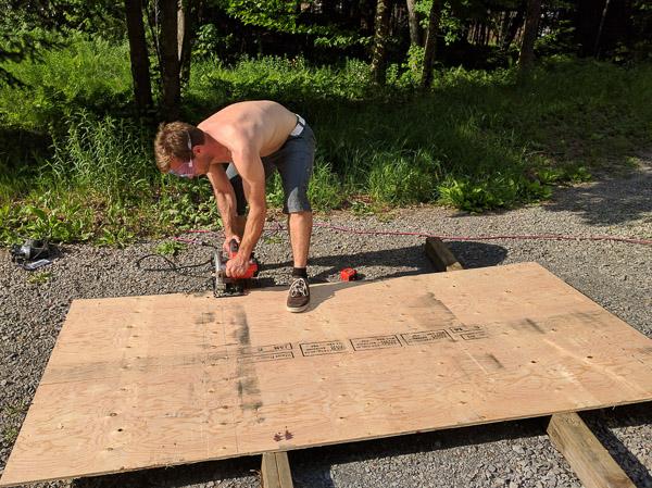 Van Conversion Floor Installation, trimming plywood