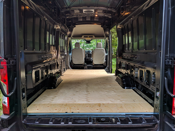 floor installation in a camper van conversion