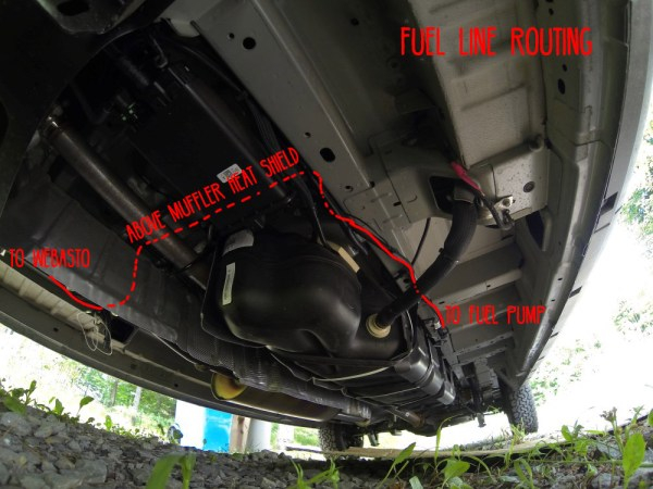 Van Conversion Webasto Air Heater, fuel line routing