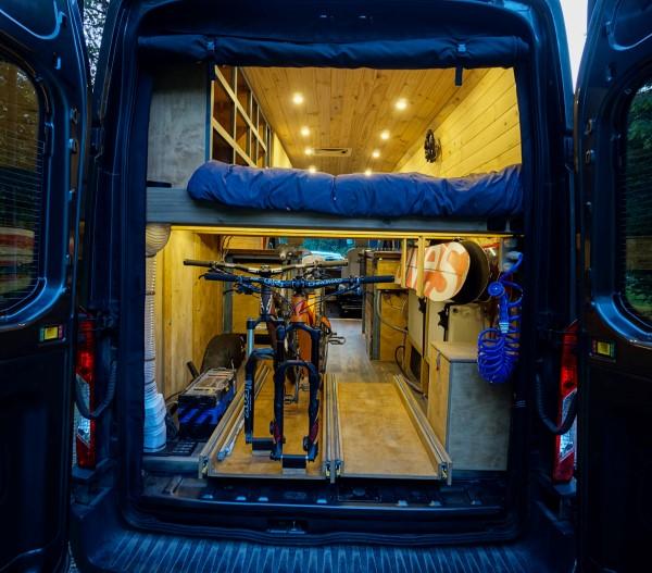 Suspended Shelves Storage Van Conversion
