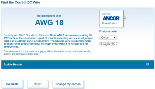 Electrical system guide for camper van conversion faroutride the calculator recommends awg 18 greentooth Gallery