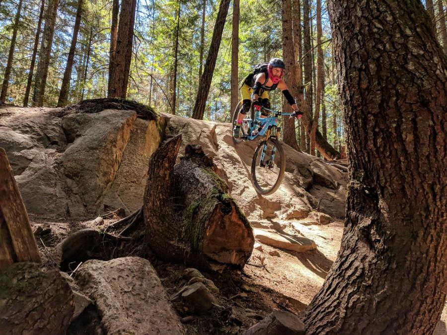 Women riding mountain bike Whistler