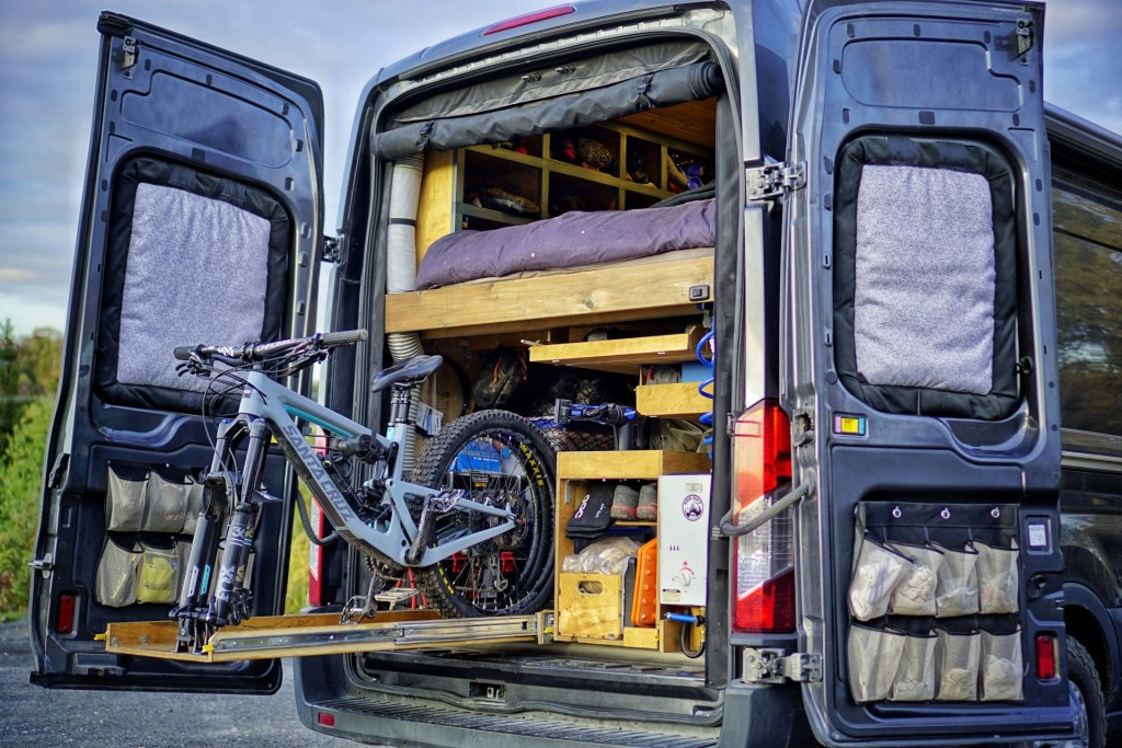 Slide Out Mountain Bike Rack Camper Van Build (5)