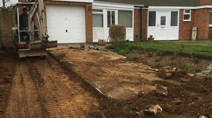 groundworks digging up driveway