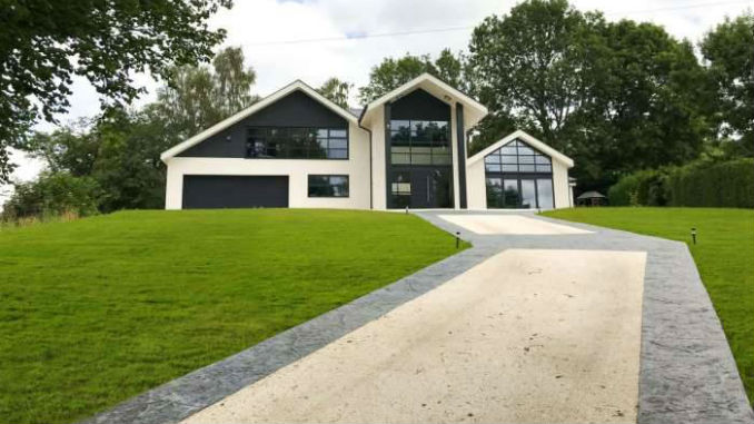 sloped resin driveway