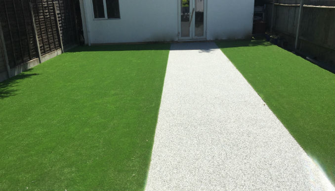 light resin patio path with astro turf