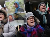تظاهرات علیه حمله موشکی به کمپ لیبرتی در استکهلم