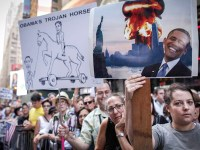 تصاویر تظاهرات اعتراضی دهها هزاران آمریکایی بر علیه توافق هسته ای با ایران در نیویورک