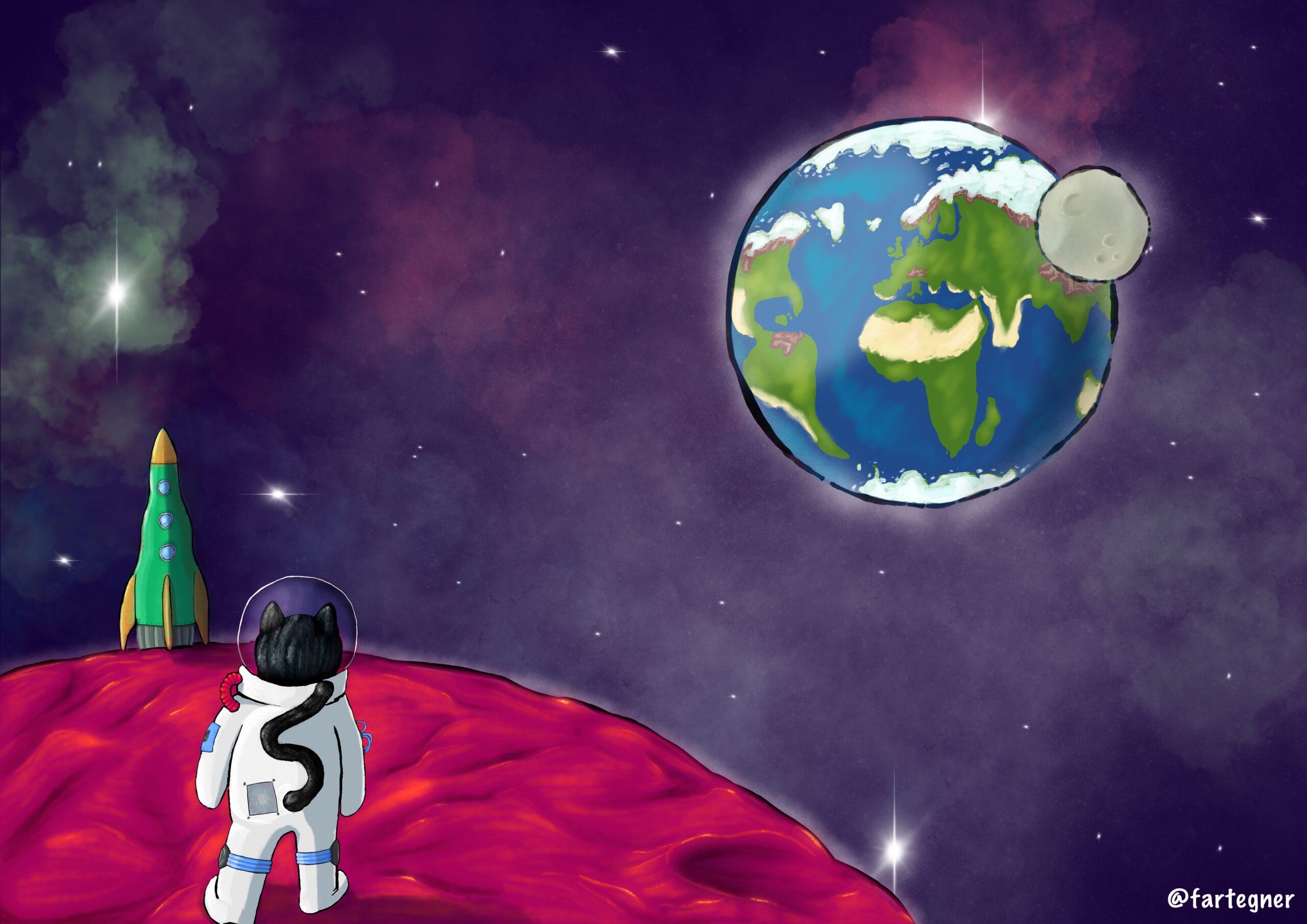 Digital illustration af en kat i rumdragt går mod enraket på en fremmed planet. Uddrag af børnebogen 'Min Bedstefars Kat - og andre børnerim' (uudgivet)