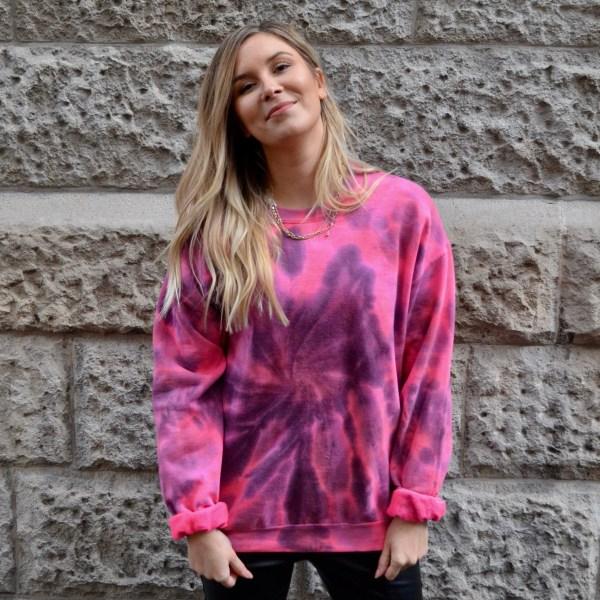 Batik / Tie-Dye Sweater Crazy Pink - Handmade
