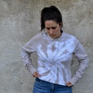 Batik / Tie-Dye Poloshirt Sand Dune - Handmade, Organic