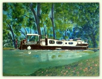 Akryl solgt 30 - 40 Båden ligger fast i Frankrig solgt