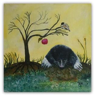 muldvarpens optur 30 - 30 akrylmaleri