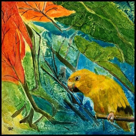 Papegøjen i det grønne, akrylmaleri