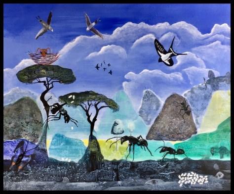 Myrens liv, akrylmaleri