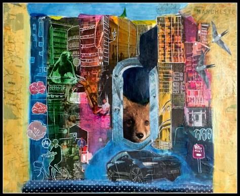 Byernes by, collage og akryl