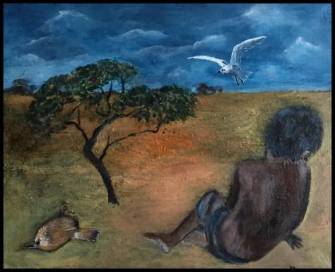 Trist, et fattigt liv, akrylmaleri.
