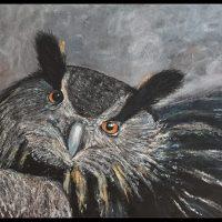 Uglen putter sig i sin rede, maleri