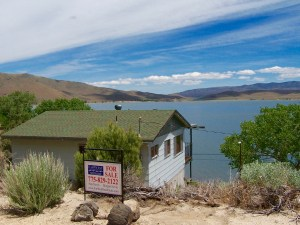Topaz Lake is easily reachable by U.S. Highway 395. On the northwest shore of the lake is the Topaz Lodge and the residential area.
