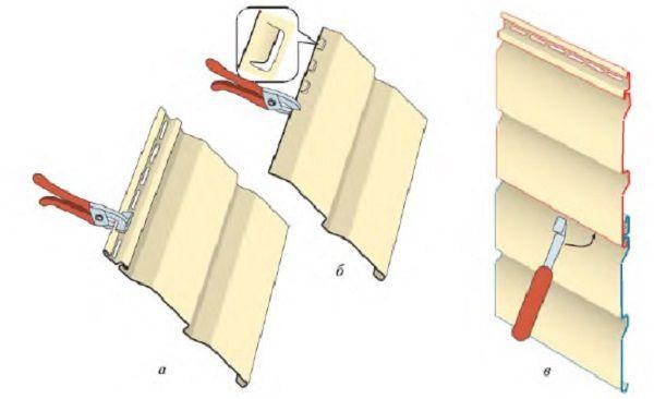 ابزارهای ویژه: A - گسترش سوراخ های موجود با یک سوراخ کننده؛ B - قلاب های پانچ بر روی یک قطعه قطعه قطعه قطعه؛ در - تخریب (نصب) در سایدینگ قلاب دوزی