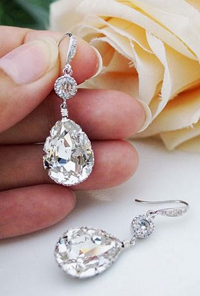 Earrings diamond wedding brides (112)