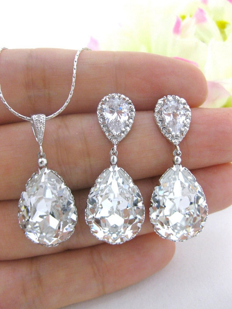 Earrings diamond wedding brides (150)