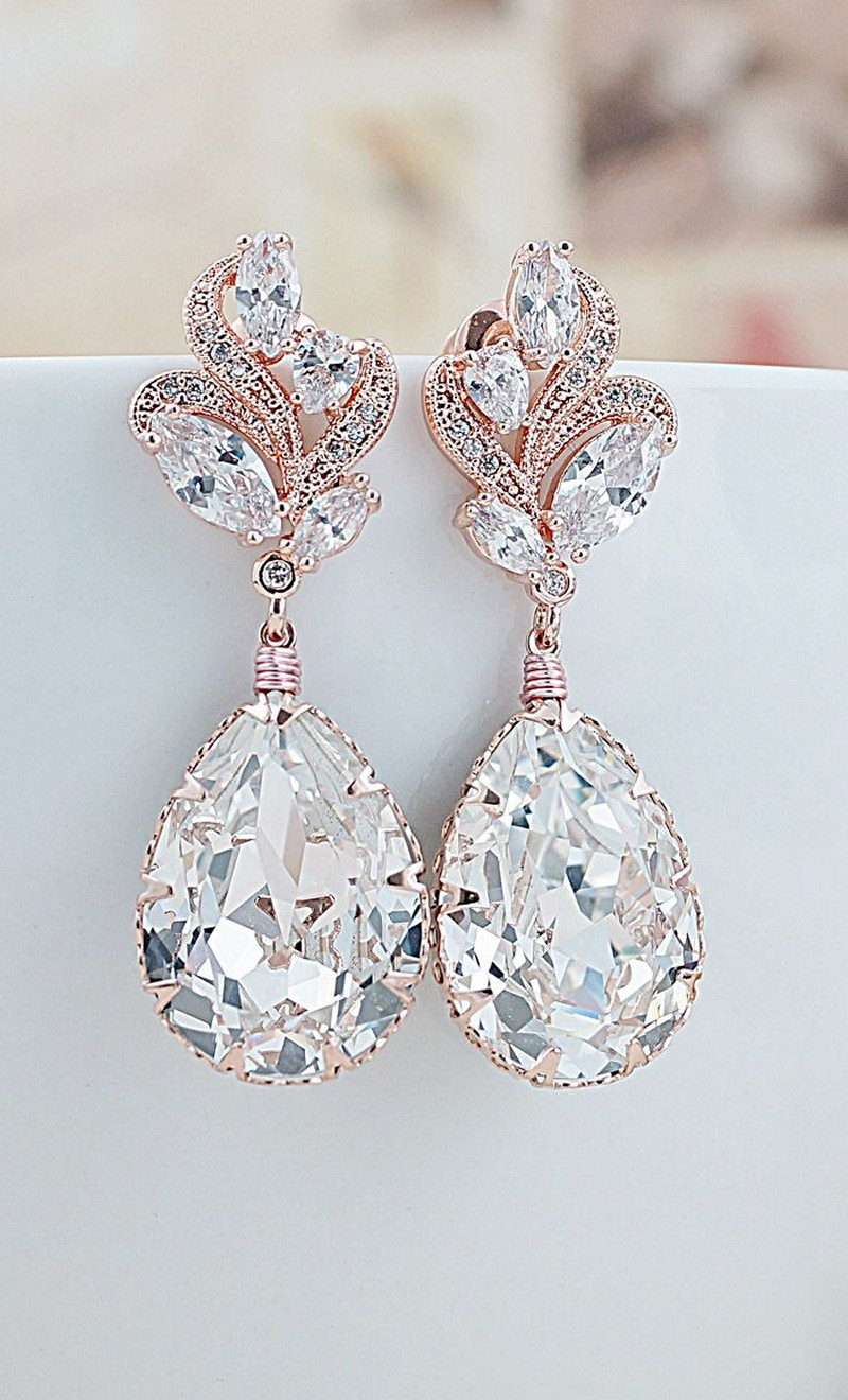 Earrings diamond wedding brides (47)
