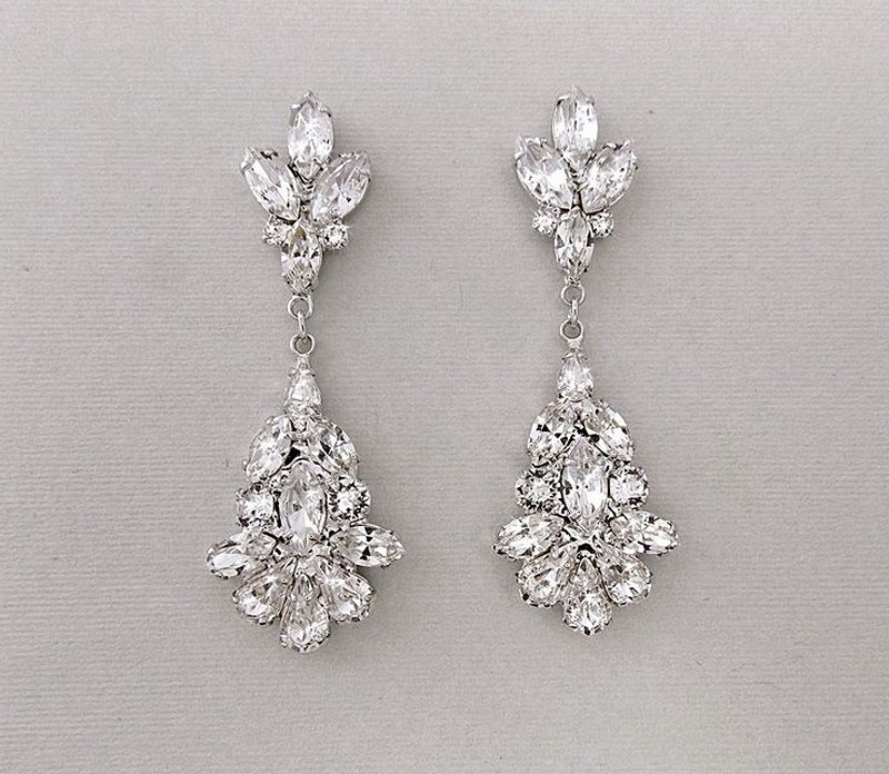 Earrings diamond wedding brides (7)
