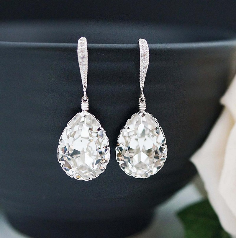 Earrings diamond wedding brides (99)