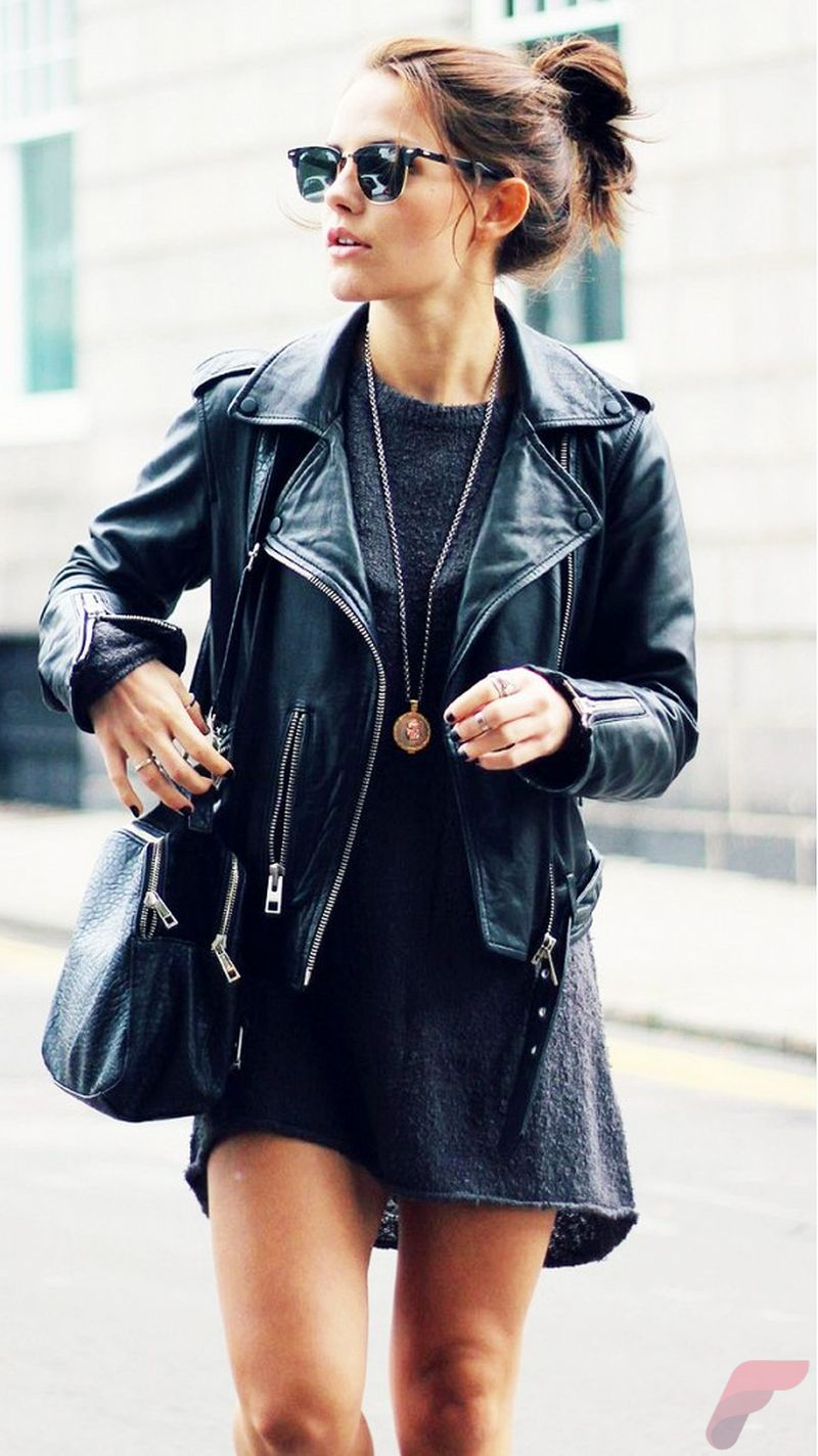 Black leather jacket outfit 21
