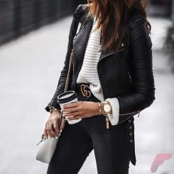 Black leather jacket outfit 24
