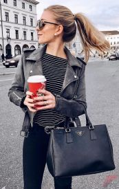 Black leather jacket outfit 34