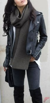 Black leather jacket outfit 47