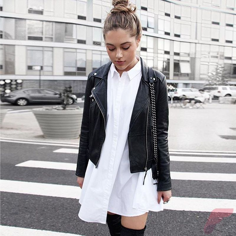 Black leather jacket outfit 50