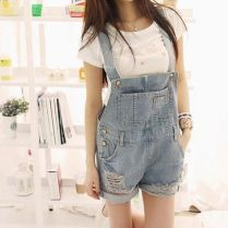 Denim overalls short outfit 118