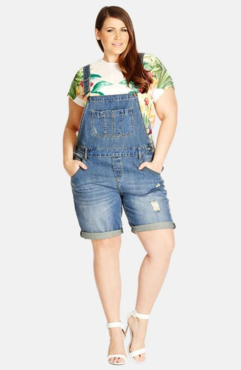 Denim overalls short outfit 120