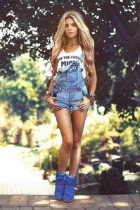 Denim overalls short outfit 14