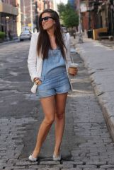 Denim overalls short outfit 16