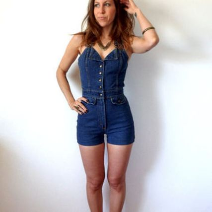 Denim overalls short outfit 2