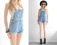 Denim overalls short outfit 23