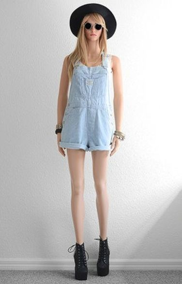 Denim overalls short outfit 25