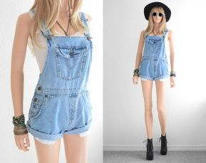 Denim overalls short outfit 27