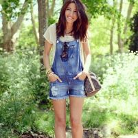 Denim overalls short outfit 30