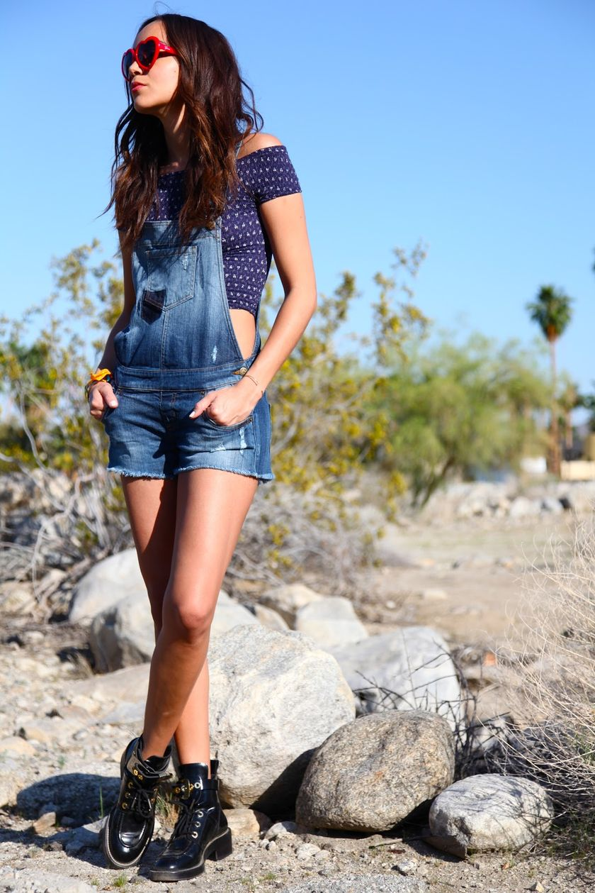 Denim overalls short outfit 35