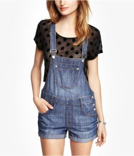 Denim overalls short outfit 39