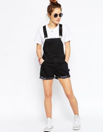 Denim overalls short outfit 49