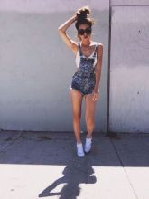 Denim overalls short outfit 53